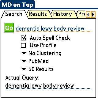 Medline on tap検索単語入力画面