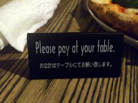 お会計はテーブルにてお願いします